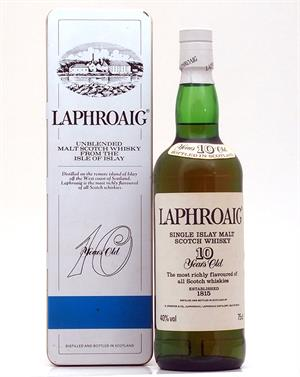 Laphroaig 10 year old Pre Royal Warrent Unblended Tin Box Single Islay Malt Whisky 40%