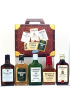 Suitcase with 5 x 20 cl Laphroaig Canadian Club Makers Mark Tullamore Ballantines
