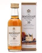 Macallan 10 years old with box Miniature / Mini Bottle 5 cl Single Highland Malt Scotch Whisky 40%